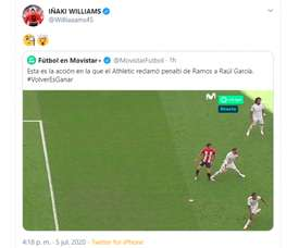 Inaki Williams felt Athletic Bilbao should have had a penalty. Twitter/Williaaams45