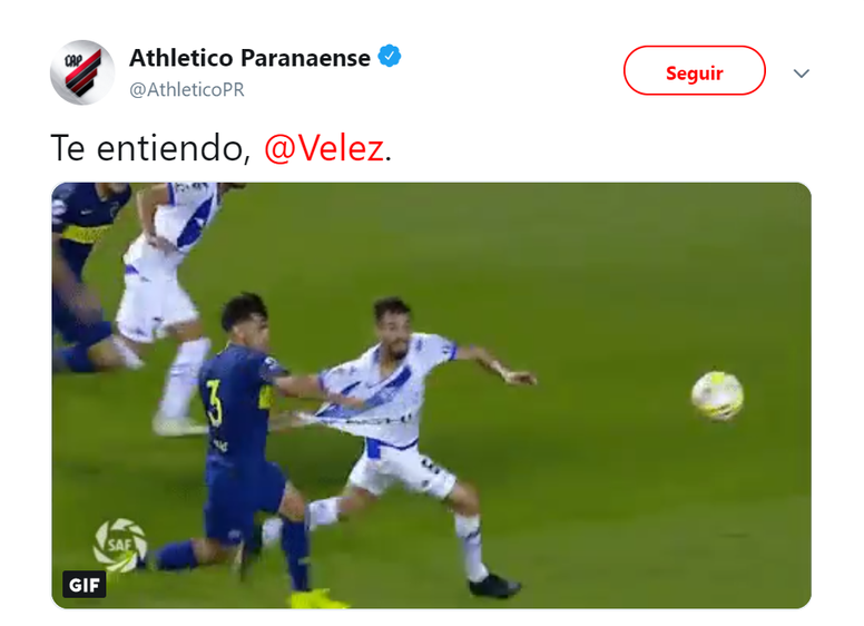 Lío a tres bandas entre Paranaense, Vélez y Boca Juniors. Twitter/AthleticoPR