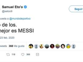 Eto'o made himself clear. Twitter/setoo9