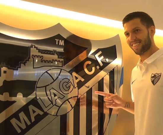 Captura del vídeo con el que el Málaga presentó al futbolista Dani Pacheco. YouTube/MalagaCF