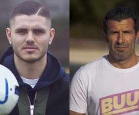 Icardi e Figo estrelaram a campanha. Twitter/Inter