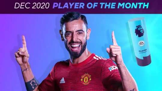 Bruno Fernandes wins Premier League player of the month for 4th time. Twitter/PremierLeague