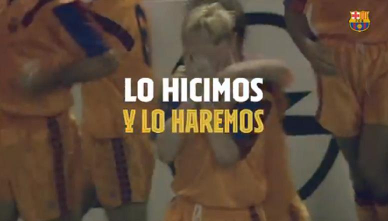 El Barça se motivó con un vídeo antes de su debut. Captura/FCBarcelona_es