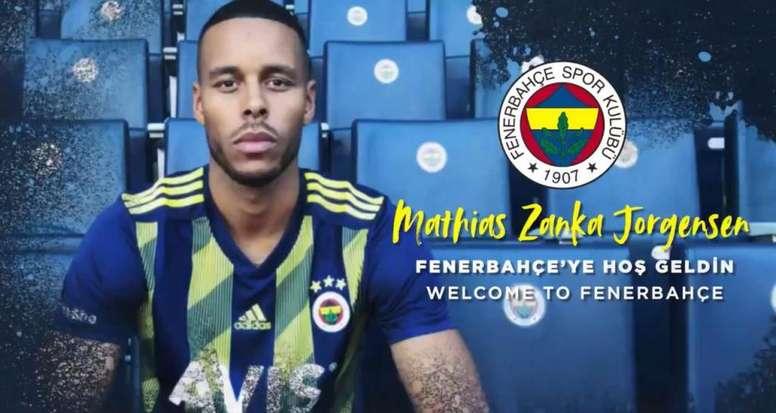Mathias Jorgensen jugará en el Fenerbahçe hasta junio de 2022. Captura/Fenerbahce