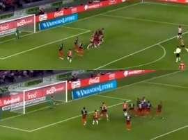 El futbolista uruguayo volvió a demostrar su valía a balón parado. Captura/Goal