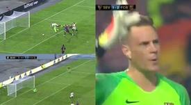 El guardameta alemán volvió a salvar a los suyos al parar un penalti. Captura/TVE