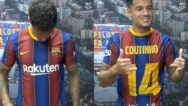 Philippe Coutinho terá a camisa 14 na temporada 2020-21. Captura/FCBarcelona