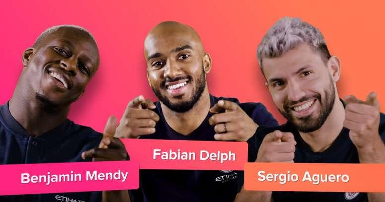 Mendy, Delph y Agüero pasaron un buen rato gracias a Tinder. YouTube/Tinder