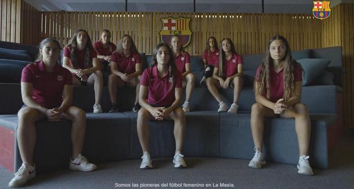 Se trata de nueve jugadoras con dinámica del Barça B Femenino. Captura/FCBarcelona