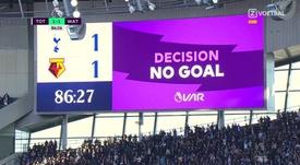 La VAR du match Tottenham-Watford présente ses excuses pour son erreur. Captura/ZVoetbal