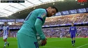 O que atiraram em Messi desde as arquibancadas de Anoeta? Captura/ESPN