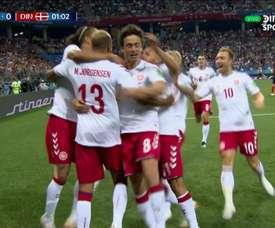 The goal sent Denmark delirious. DIRECTVSports