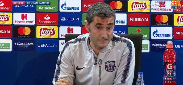 Valverde spoke about his team's UCL clash on Tuesday. Twitter/Barcelona_es