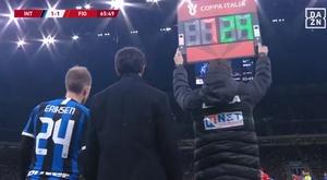 A estreia de Eriksen pela Inter. DAZN