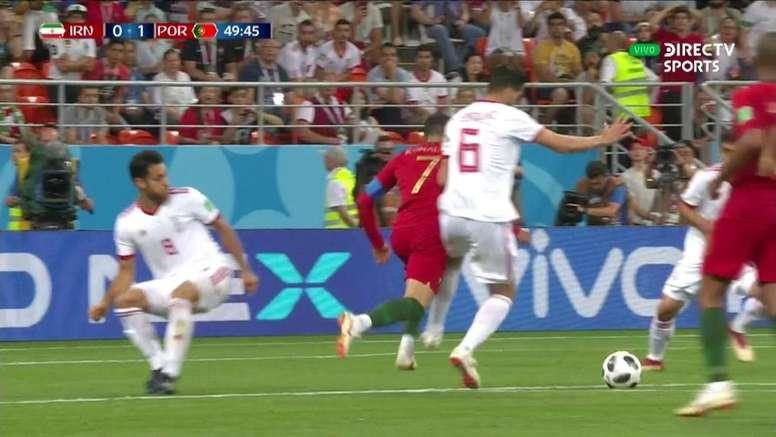 Ronaldo missed his penalty against Iran. Screenshot