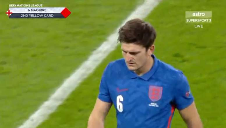 Harry Maguire's red card. Screenshot/AstroSupersport
