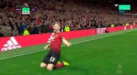 Luke Shaw celebró con euforia su primer gol como profesional. Movistar+