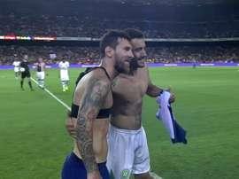 Ruschel et Messi ont échangé leurs maillots. Twitter/SporTV