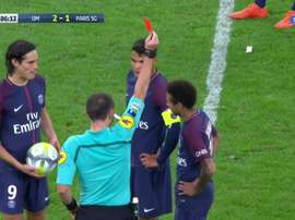 Neymar was sent off during 'Le Classique' against Marseille. SportTV