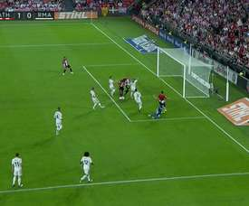 Muniain converted from close range to hand the hosts the lead. Screenshot/Movistar+