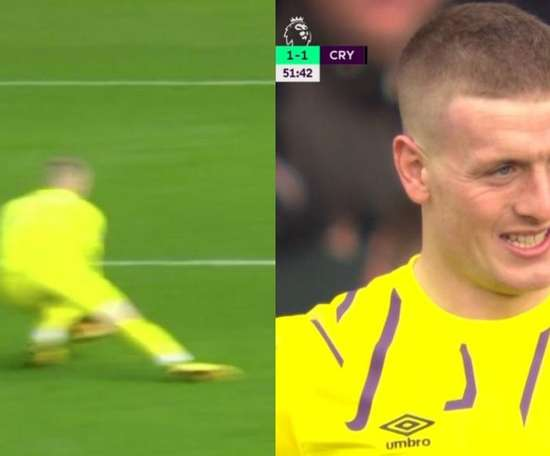 Pickford's blunder brought Palace back on level terms. Captura/DAZN