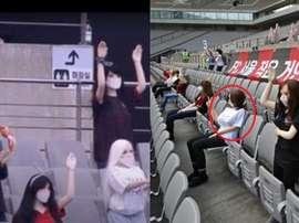 Un club coréen comble le vide de son stade par des poupées gonflables. Captures/Twitter/WhoAte