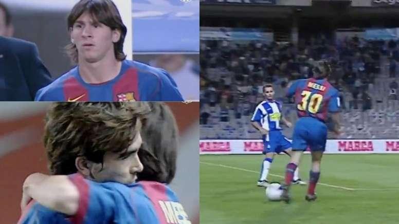 Relembra a estreia de Messi pelo Barcelona em 2004. Capturas/BarçaTV