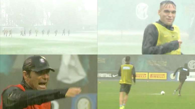 Les joueurs de l'Inter... trempés ! Captures/Twitter/Inter