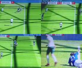 Horrible primera mitad de Todibo ante el Werder Bremen. Capturas/MovistarLigadeCampeones