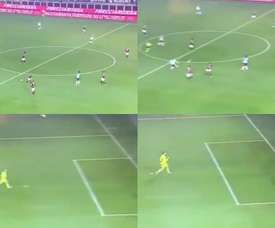 Ilicic spotted the goalie miles off his line and scored. Capturas/MovistarLigadeCampeones