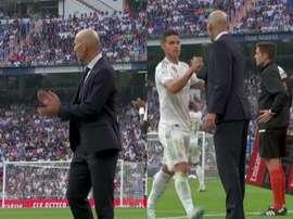 Qu'est ce que James a dit à Zidane lorsqu'il a été remplacé par Vinicius ? Captures/Movistar+