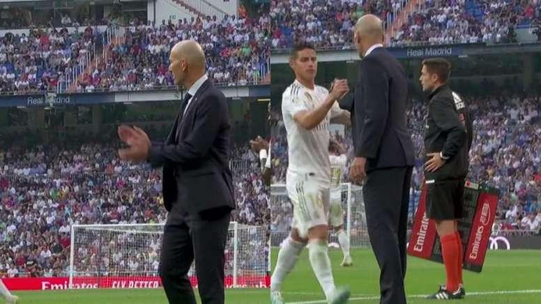 James y Zidane tuvieron una conversación en el cambio. Capturas/Movistar+