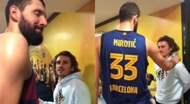 La petición de Griezmann a un ex NBA. Captura/FCBbasket