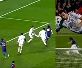 Barca v Liverpool: the day Arbeloa blocked Messi and denied him a goal. Youtube/Champions