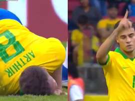 Coutinho e Arthur protagonistas no encontro do Brasil. Captura/DAZN