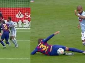 Pique was involved in two controversial incidents v Celta Vigo. Capturas/MovistarLaLiga