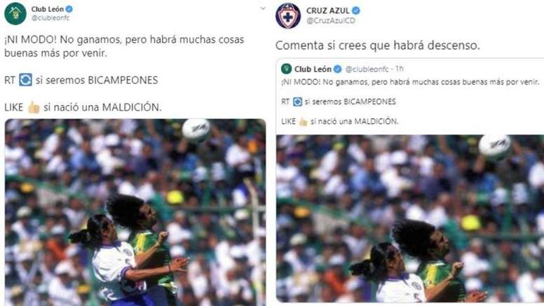 Cruz Azul y León se picaron por Twitter. CruzLeonFC/CruzAzulCD