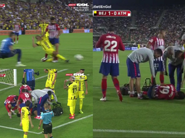 Momento em que atacante sofre lesão. Captura/GolTV