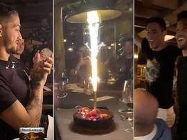 El cumpleaños de Lanzini resultó muy divertido. Capturas/Instagram