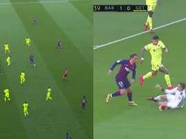 Il goal del vantaggio del Barcellona al termine di una combinazione Messi-Griezmann. MovistarLaLiga