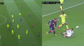 Messi sert Griezmann sur un plateau, qui marque d'un joli piqué. Captures/MovistarLaLiga