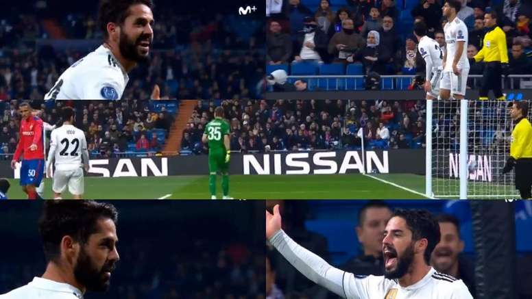 Isco can be seen gesturing at the fans. Twitter/Casadelfutbol