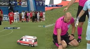 Árbitro é agredido na Romênia e partida da UEL fica paralisada por 30 minutos. Captura/Digisport