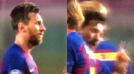 Messi não gostou nada da arbitragem. Captura/MovistarLigadeCampeones