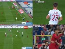 Piatek marcó su primer gol con Polonia y André Silva respondió. Captura