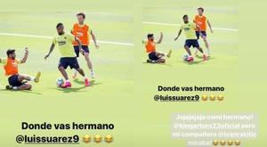Trollagem dupla no Barça. Instagram/kingarturo23oficial/luissuarez9