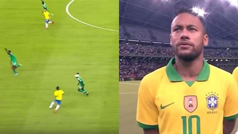 Capturas de Neymar e seu chapeuzinho em jogador adversário em jogo amistoso. Capturas/DAZN