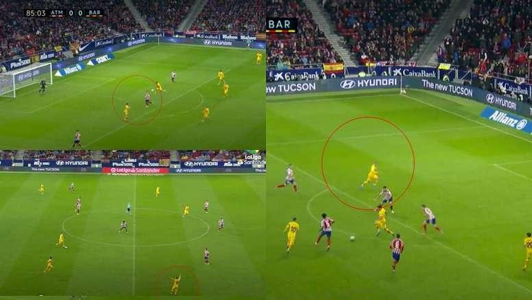 Ce qui est passé inaperçu sur le but de Messi face à l'Atlético. Capture/MovistarLaLiga