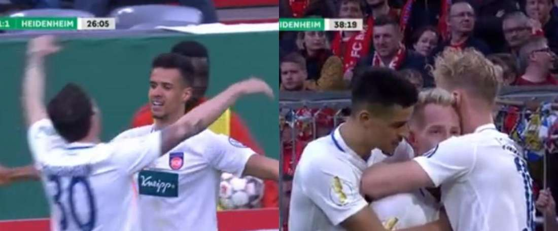 Heidenheim come out fighting against Bayern Munich. Screenshots/Movistar