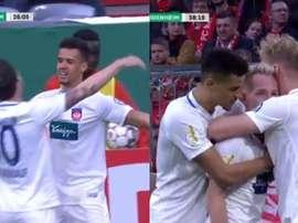 El Heidenheim puso patas arriba el Allianz ante la pasividad de Ulreich. Capturas/Movistar